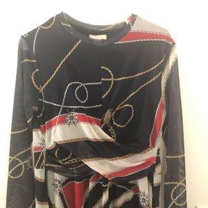 Navy Chain Print Midi/Maxi Dress with Sheer Sleeve